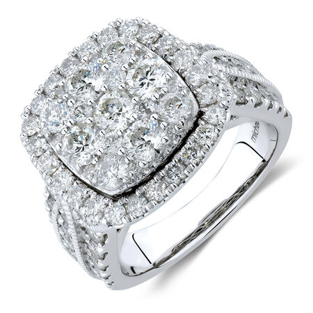 Ring with 3 Carat TW of Diamonds in 10ct White Gold