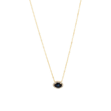 Halo Necklace with Sapphire & Diamonds in 10ct Yellow Gold