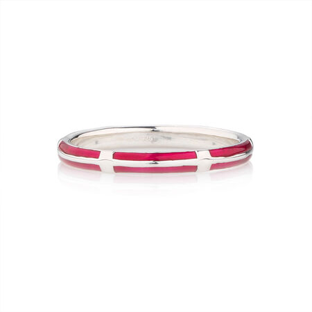 Online Exclusive - Stacker Ring with Pink Enamel in Sterling Silver