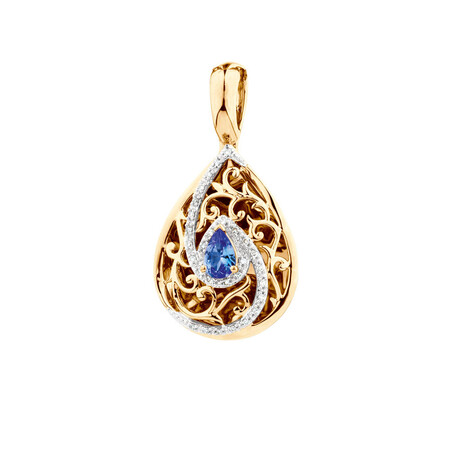 Enhancer Pendant with Tanzanite and Diamonds in 10ct Yellow Gold