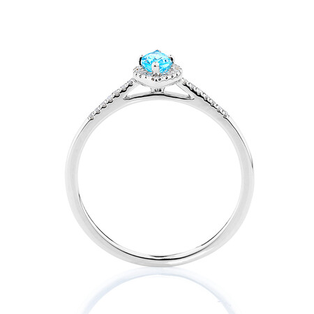 Ring with Blue Topaz & Diamonds in 10ct White Gold