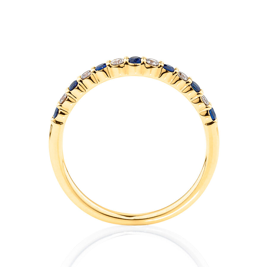 Ring with Blue Sapphire & 0.15 Carat TW of Diamonds in 10ct Yellow Gold