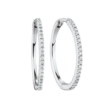 Medium Huggie Earrings in 10ct White Gold With 1/4 Carat TW of Diamonds