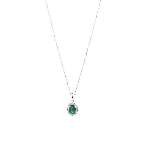 Halo Pendant with Created Emerald and 0.04 TW of Diamonds in Sterling Silver