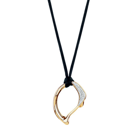 Spirits Bay Hollow Pendant with 0.15 Carat TW of Diamonds in 10ct Yellow Gold