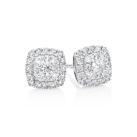 Cluster Stud Earrings With 0.40 Carat TW Diamonds In 10ct White Gold