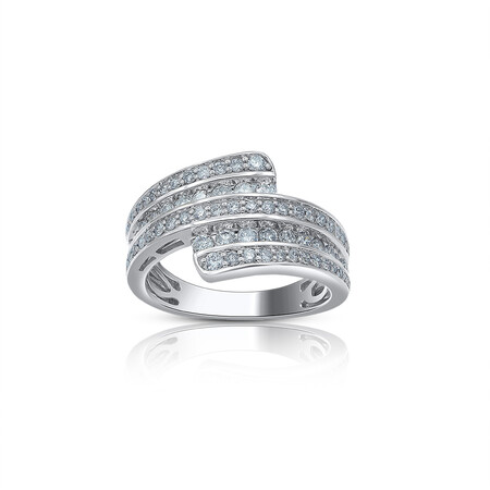 Three Row Ring with 0.50 Carat TW of Diamonds in 10ct White Gold
