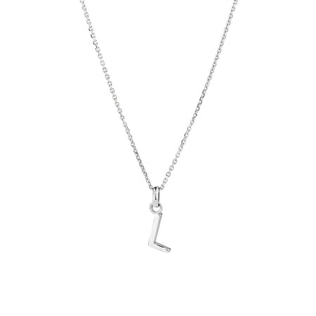 """""""L"""" Initial Pendant in Sterling Silver"""