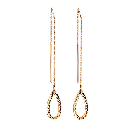 Geometric Teardrop Earrings in 10ct Yellow Gold