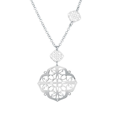 Geometric Filigree Necklace in Sterling Silver