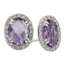 Online Exclusive - Earrings with Amethyst & Diamonds in 10ct White Gold