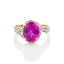 Ring with Created Pink Sapphire & 1/4 Carat TW of Diamonds in 10ct Yellow Gold