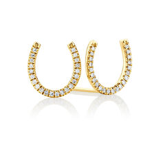 Horseshoe Stud Earrings With Diamonds In 10ct Yellow Gold