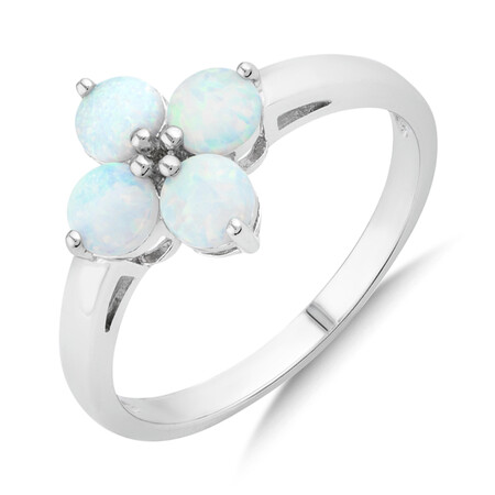 Created Opal Floral Ring in Sterling Silver