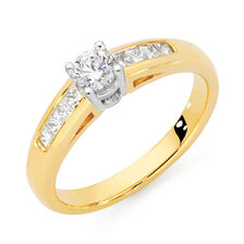 Online Exclusive - Solitaire Engagement Ring with a 1/2 Carat TW Diamond in 18ct Yellow & White Gold