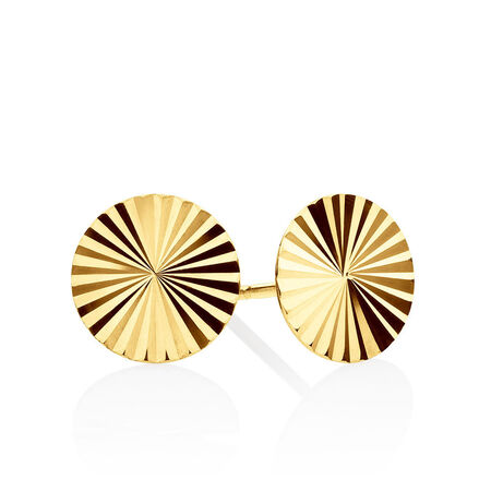 Patterned Circle Stud Earrings In 10ct Yellow Gold