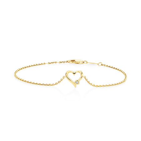 Heart Bracelet With Diamond In 10ct Yellow Gold