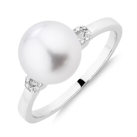 Ring WithSouth Sea Pearl & 0.5 Carat TW Diamonds In 14ct White Gold