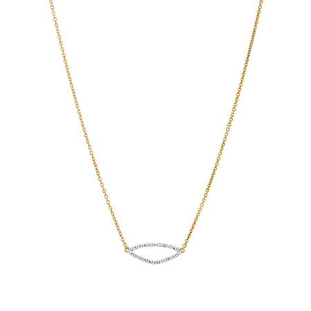 Organic Shape Pendant with Diamond in 10ct Yellow Gold