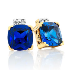 Stud Earrings with Created Sapphire & Diamonds in 10ct Yellow & White Gold