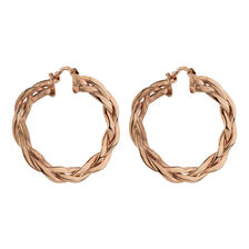 Online Exclusive - Patterned Hoop Earrings in 10ct Rose Gold