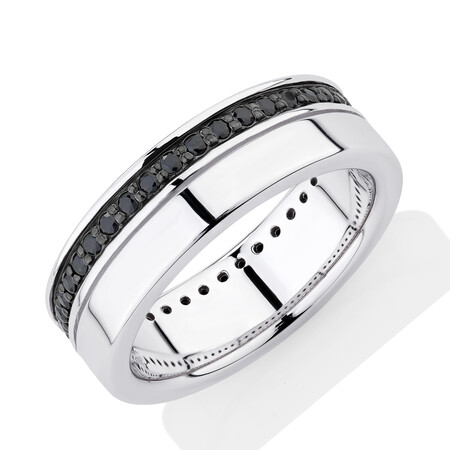 Ring with Black Cubic Zirconia in Sterling Silver