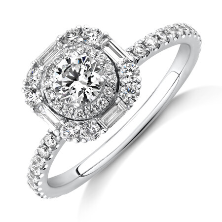 Sir Michael Hill Designer Halo Engagement Ring with 0.79 Carat TW Diamonds in 18ct White Gold