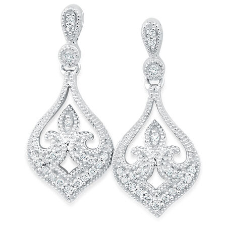 Online Exclusive - Drop Earrings with 0.15 Carat TW of Diamonds in 10ct White Gold