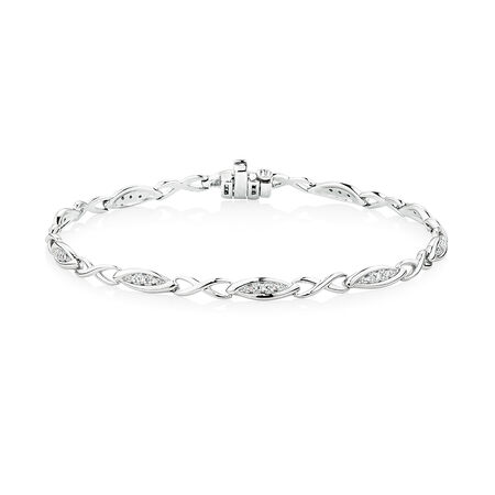 Twist Link Bracelet with Diamonds in Sterling Silver