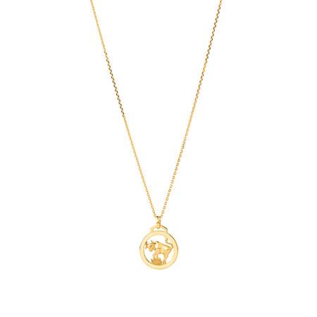 Taurus Zodiac Pendant with Chain in 10ct Yellow Gold