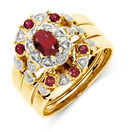 Ring with Created Ruby & Diamonds in 10ct Yellow Gold