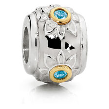 Flower Charm with Blue Topaz in Sterling Silver & 10ct Yellow Gold