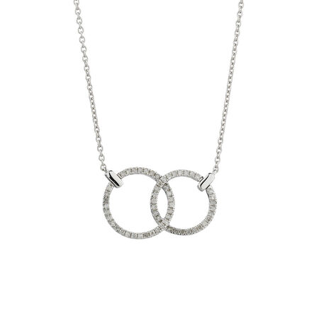 Online Exclusive - Double Cicle Pendant with 1/5 Carat TW of Diamonds in 10ct White Gold