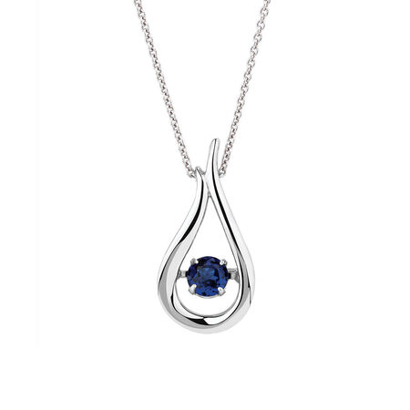 Everlight Pendant with Created Blue Sapphire in Sterling Silver