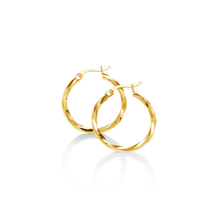 22cm Twist Hoops in 10ct Yellow Gold