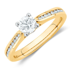 Engagement Ring with 0.78 Carat TW of Diamonds in 14ct Yellow & White Gold