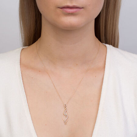 Online Exclusive - Pendant with 0.16 Carat TW of Diamonds in 10ct Yellow Gold