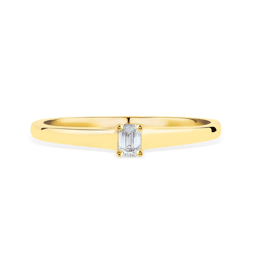 Promise Ring with Diamond in 10ct Yellow Gold