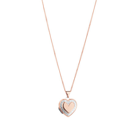 Heart Locket Pendant in 10ct Rose Gold & Sterling Silver
