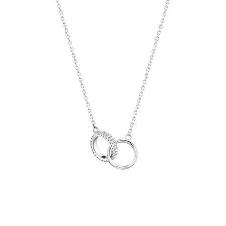 Linked Circle Necklace with Cubic Zirconia in Sterling Silver