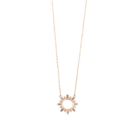 Circle Necklace With 0.12 Carat TW Diamonds In 10ct Rose Gold