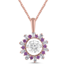 Everlight Pendant with Created Pink Sapphire and 0.16 Carat TW of Diamonds in 10ct Rose Gold