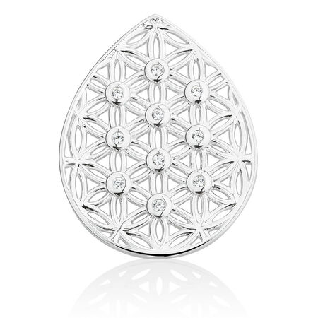 Flower Coin Locket Insert with Cubic Zirconia in Sterling Silver