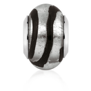 Black & Silver Glass Charm