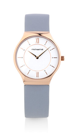 Watch in Rose Tone Stainless Steel & Grey Leather