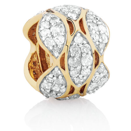 Marquee Charm with 1/2 Carat TW of Diamonds in 10ct Yellow Gold