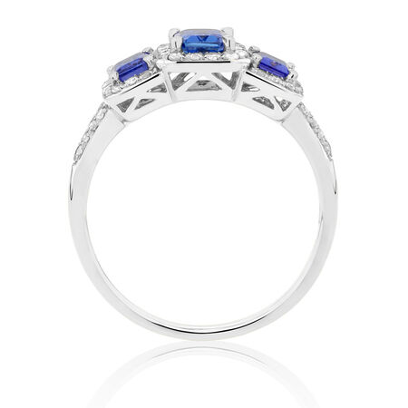 Three Stone Ring with Tanzanite & 1/4 Carat TW of Diamonds in 10ct White Gold