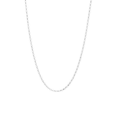 "50cm (20"") Diamond Cut Belcher Chain in 18ct White Gold"