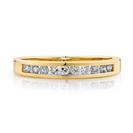 Wedding Band with 1/4 Carat TW of Diamonds in 10ct Yellow Gold