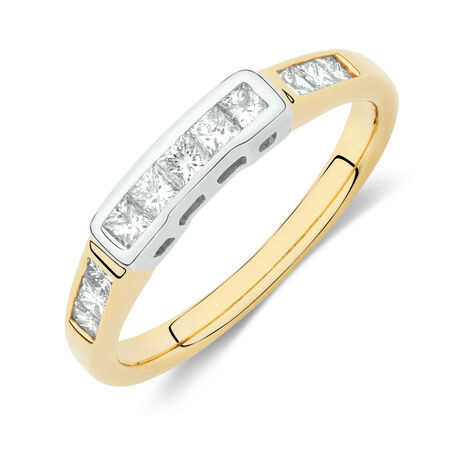Online Exclusive - Wedding Band with 0.49 Carat TW of Diamonds in 18ct Yellow and White Gold